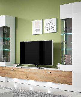 Tv-meubel Set FOSTER 4 Deuren Hoogglans Wit/ Grandson Eikenhout Met LED Verlichting