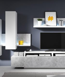 Tv-meubel Set BOTSWANA 2 Lades 2 Opbergvakken Wit Hoogglans/beton