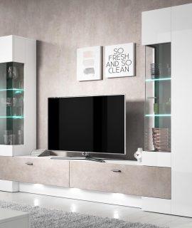 Tv-meubel Set FOSTER 4 Deuren Hoogglans Wit/beton Met LED Verlichting