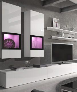 Tv-meubel Set BABEL 5 Deuren Hoogglans Wit Met Verlichting