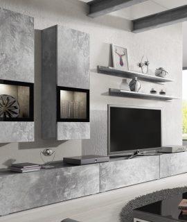 Tv-meubel Set BABEL 5 Deuren Beton Met Verlichting