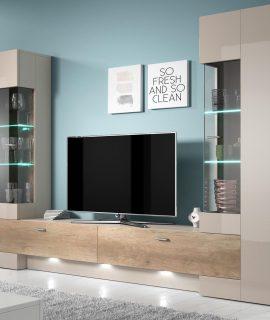 Tv-meubel Set FOSTER 4 Deuren Grijs/canyon Met LED Verlichting
