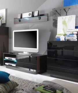 Tv-meubel Set TOGGLE Wengue/hoogglans Zwart
