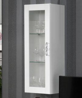 Wandkast ANTONIA 1 Glazen Deur Verticaal Hoogglans Wit