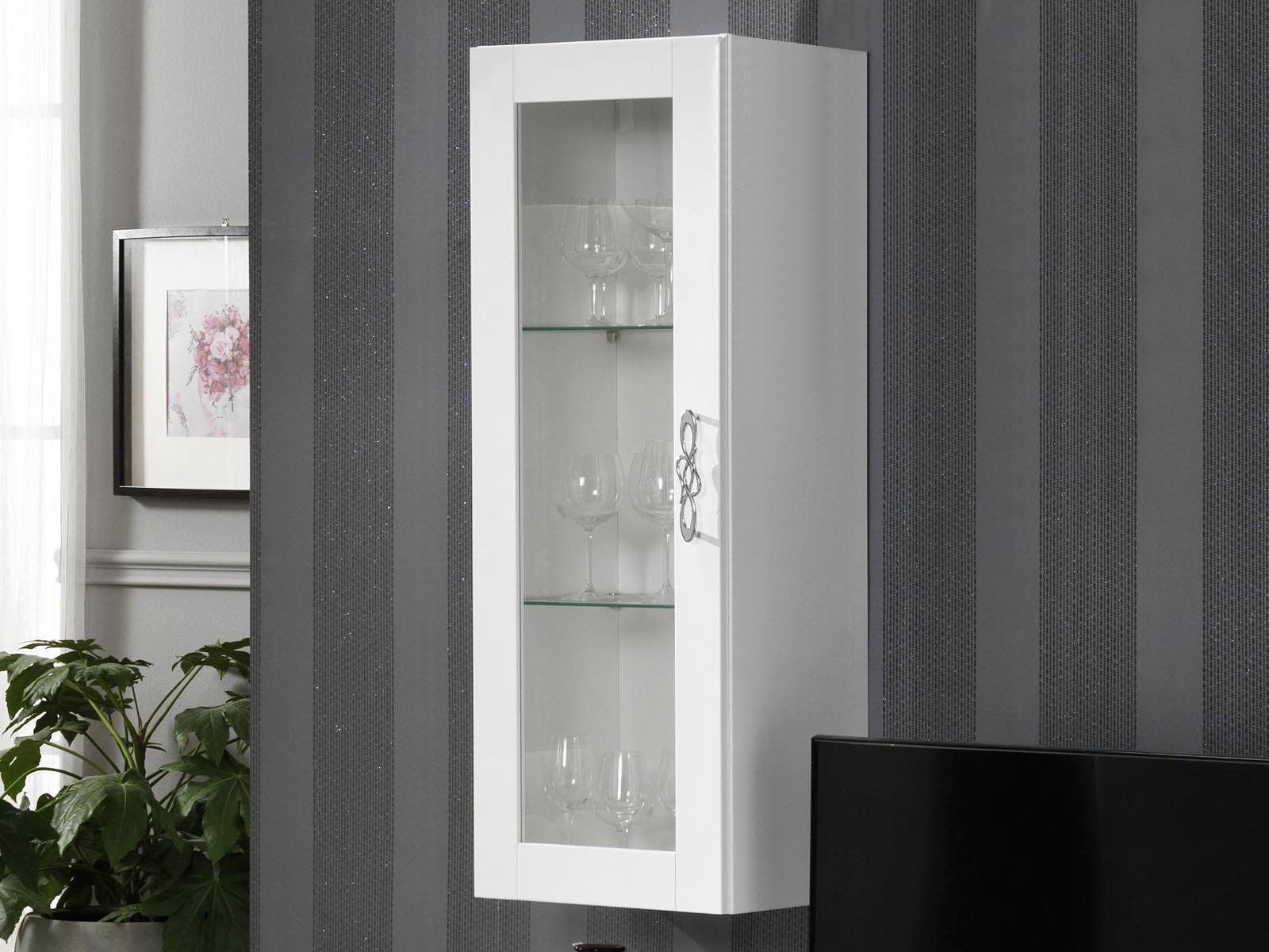 Wandkast Met Glas.Wandkast Antonia 1 Glazen Deur Verticaal Hoogglans Wit
