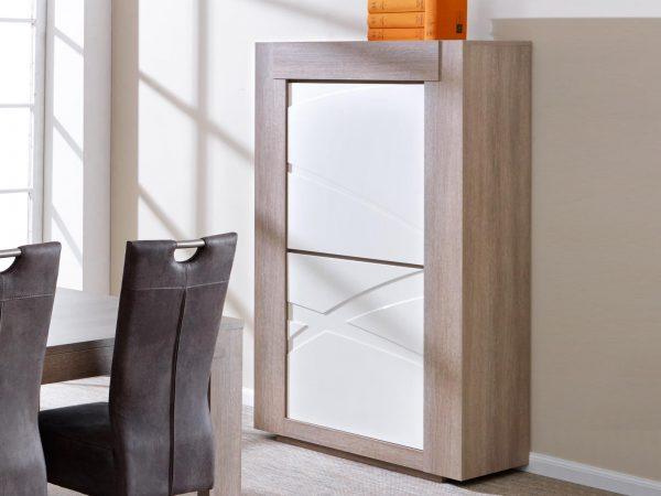 Kolomkast GIONO 2 deuren grijze eik/wit