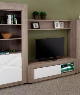 Tv-meubel Set GIONO Grijze Eik/wit