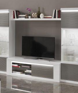 Tv-meubel Set VERONICA Hoogglans Wit/hoogglans Grijs Met Verlichting