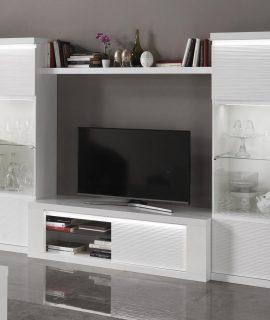 Tv-meubel Set VERONICA Hoogglans Wit Met Verlichting