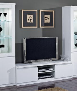 Tv-meubel Set ROMEO Hoogglans Wit Met Verlichting