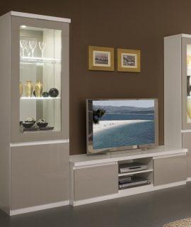 Tv-meubel Set ROMEO Hoogglans Wit/hoogglans Grijs Met Verlichting