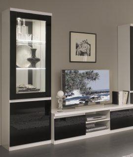 Tv-meubel Set ROMEO Hoogglans Wit/hoogglans Zwart Met Verlichting