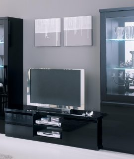 Tv-meubel Set ROMEO Hoogglans Zwart Zonder Verlichting