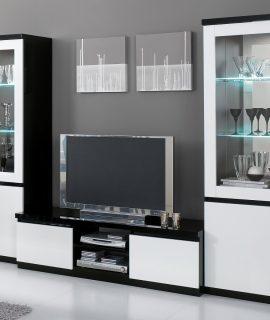 Tv-meubel Set ROMEO Hoogglans Zwart/hoogglans Wit Met Verlichting