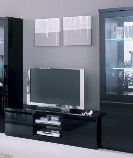 Tv-meubel Set ROMEO Hoogglans Zwart Met Verlichting
