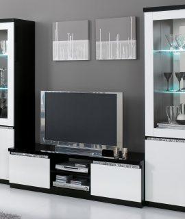 Tv-meubel Set REBECCA Hoogglans Zwart/hoogglans Wit Met Verlichting