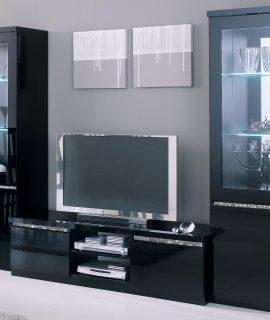 Tv-meubel Set REBECCA Hoogglans Zwart Met Verlichting