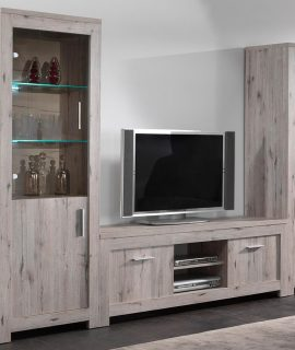 Tv-meubel Set POSEIDON 6 Deuren Grijze Eik