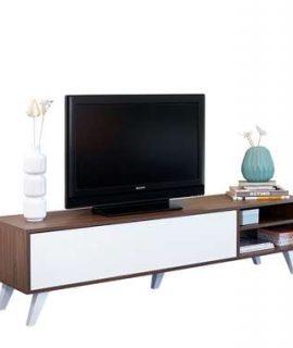 Symbiosis TV-meubel Heidal – Walnootkleur/wit – 43,2x165x40 Cm
