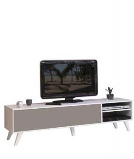 Symbiosis TV-meubel Heidal – Wit/taupe – 43,2x165x40 Cm
