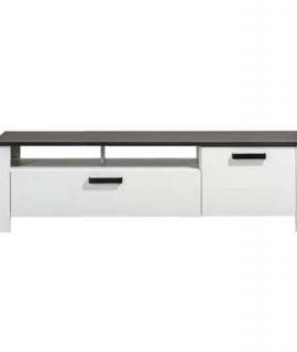 TV-meubel Helene – Wit/donkerbruin – 47x165x40 Cm