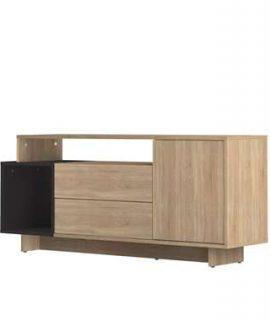 Symbiosis TV-meubel Kube – Eikenkleur/zwart – 59,3×139,1×33 Cm