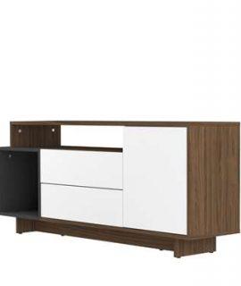 Symbiosis TV-meubel Kube – Walnootkleur/grijs – 59,3×139,1×33 Cm