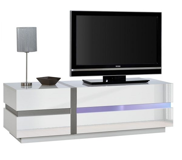 Tv Meubel Chris 150 cm breed - Hoogglans Wit met LED