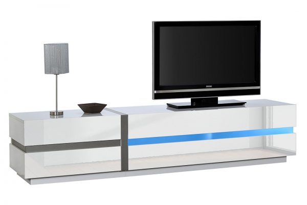 Tv Meubel Chris 220 cm breed - Hoogglans Wit met LED
