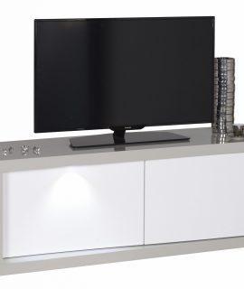 Tv Meubel Alto 140 Cm Breed – Hoogglans Taupe Met Hoogglans Wit