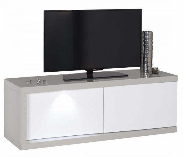 Tv Meubel Alto 140 cm breed - Hoogglans Taupe met Hoogglans Wit