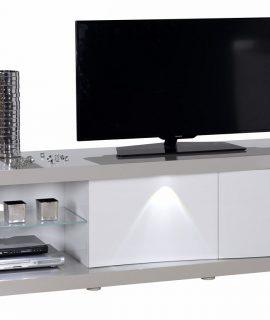 Tv Meubel Alto 180 Cm Breed – Hoogglans Taupe Met Hoogglans Wit