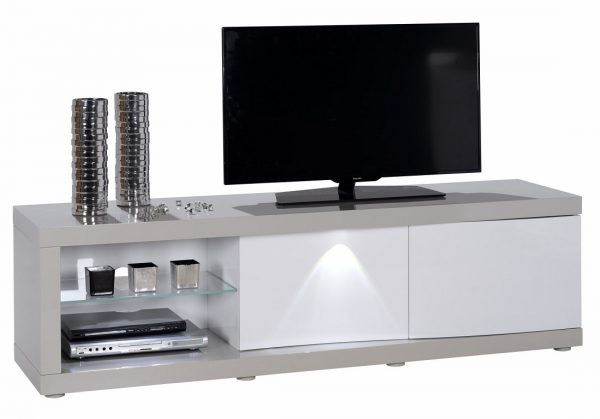 Tv Meubel Alto 180 cm breed - Hoogglans Taupe met Hoogglans Wit