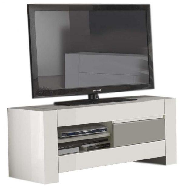 Tv Meubel Bianca 150 cm breed - Hoogglans wit met grijs