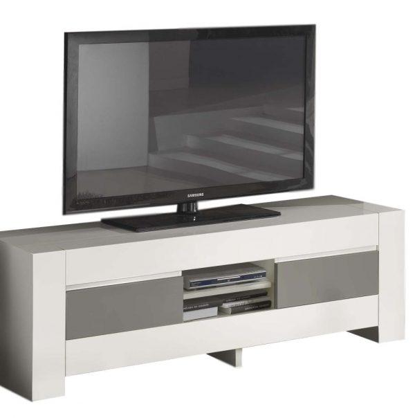 Tv Meubel Bianca 180 cm breed - Hoogglans wit met grijs