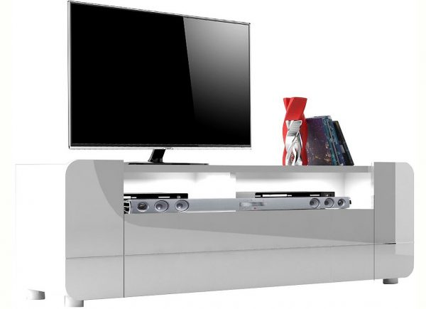 TV Meubel Bump 150 cm breed - Hoogglans wit
