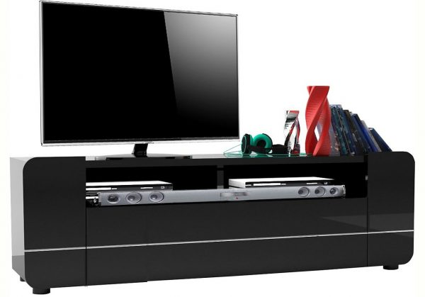 TV Meubel Bump 150 cm breed - Hoogglans zwart