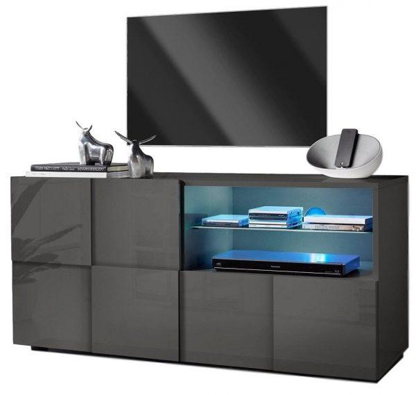 Tv meubel Dama 121 cm breed - Hoogglans grijs