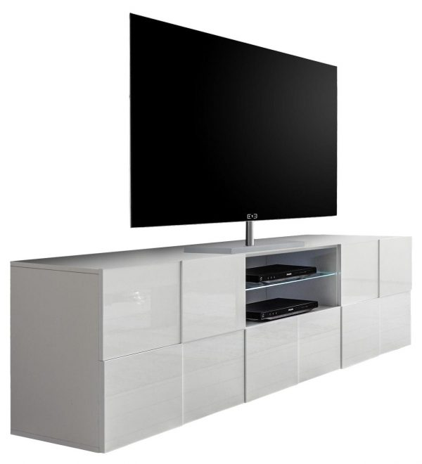 Tv meubel Dama 181 cm breed - Hoogglans wit