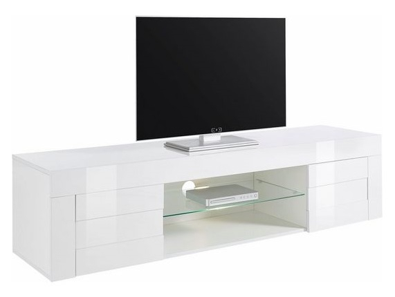Tv meubel Easy 181 cm breed - hoogglans wit