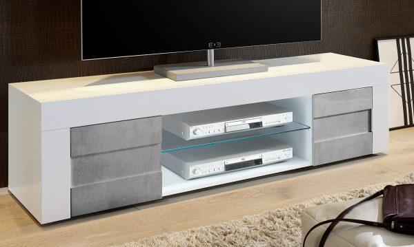 Tv meubel Easy 181 cm breed - hoogglans wit met grijs beton