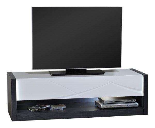 Tv Meubel Elypse 150 cm breed - Hoogglans Wit met Bruin eiken