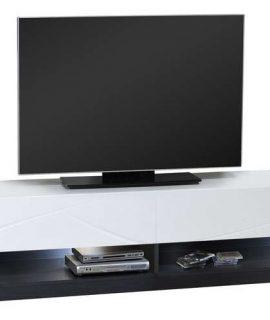 Tv Meubel Elypse 220 Cm Breed – Hoogglans Wit Met Bruin Eiken