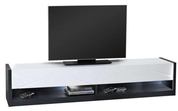 Tv Meubel Elypse 220 cm breed - Hoogglans Wit met Bruin eiken