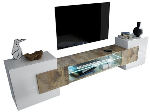 Tv meubel Incastro 61 cm hoog - Hoogglans wit met eiken