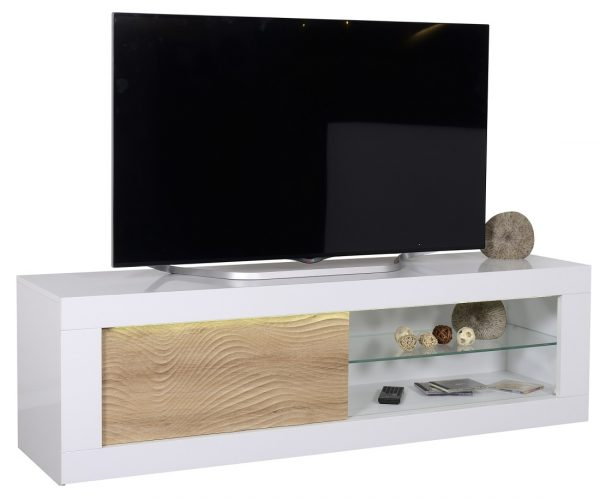 Tv meubel Karma 170 cm breed - Hoogglans wit met Eiken