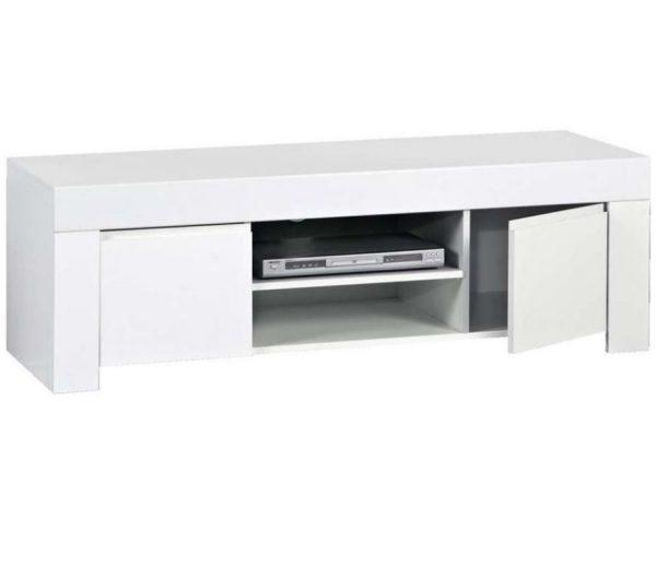 Tv meubel Malifi 140 cm lang - Hoogglans wit