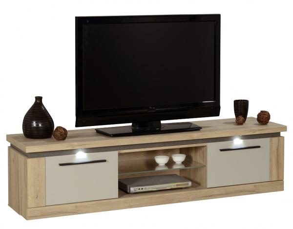 Tv Meubel Oslo 180 cm breed - eiken met hoogglans grijs