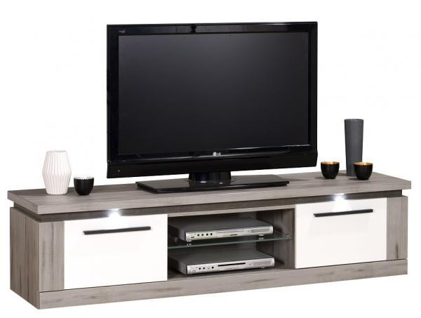 Tv Meubel Oslo 180 cm breed - Grijs eiken met hoogglans wit