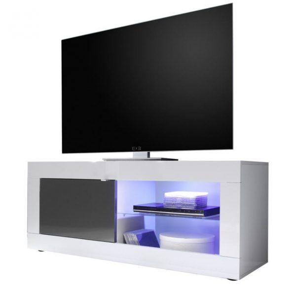 Tv meubel Tonic 140 cm - Hoogglans wit met antraciet